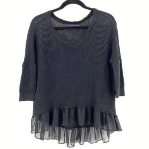 American Eagle Mesh Knit Ruffle High Low Top Black